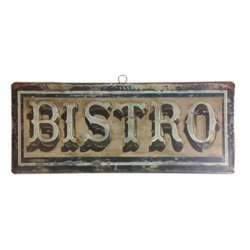 Vintage French Bistro Hanging Tin Sign   14 In (Bistro)