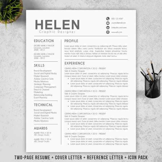 Modern Resume Template Cover Letter Reference By Resumebook