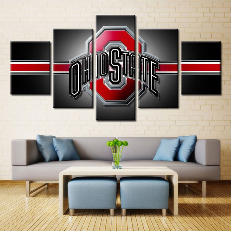 Wall Art Sport Team Football American OHIO STATE Canvas Oil Painting ...
