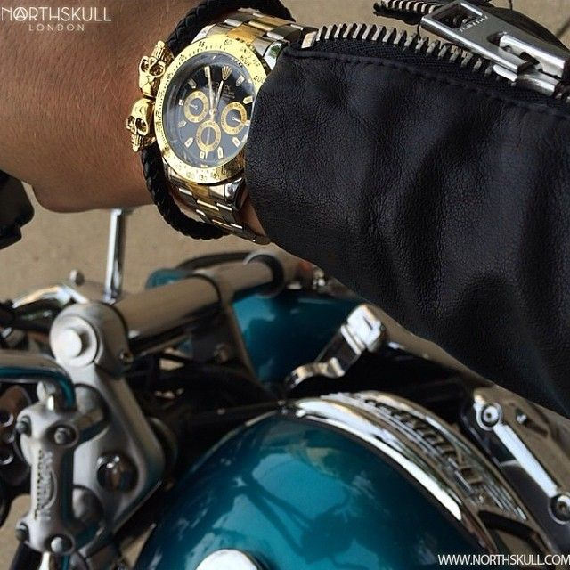 Fan Instagram Pic   While Sitting On A Classic Triumph Motorcycle @Johnnormalle Shows Us His Style With A TwoTone Black Dial Rolex Daytona Watch Paired With Our Black Nappa Leather & 18Kt. Gold Twin Skull Bracelet. Great Pic!   Available now at Northskull.com   For A Chance To Get Featured Post A Cool Photo Of Your Northskull Jewelry With The Tag #Northskullfanpic On Instagram