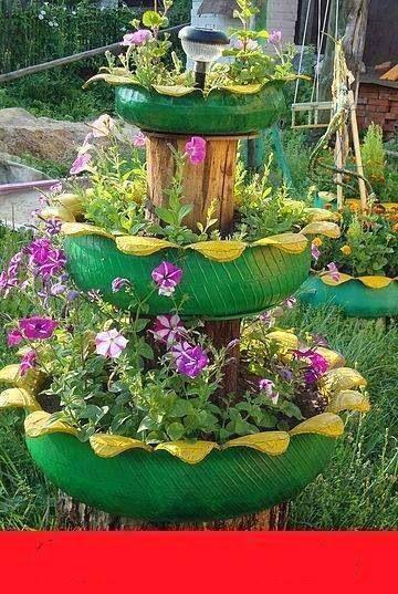 10 Decoracion de jardines con llantas recicladas