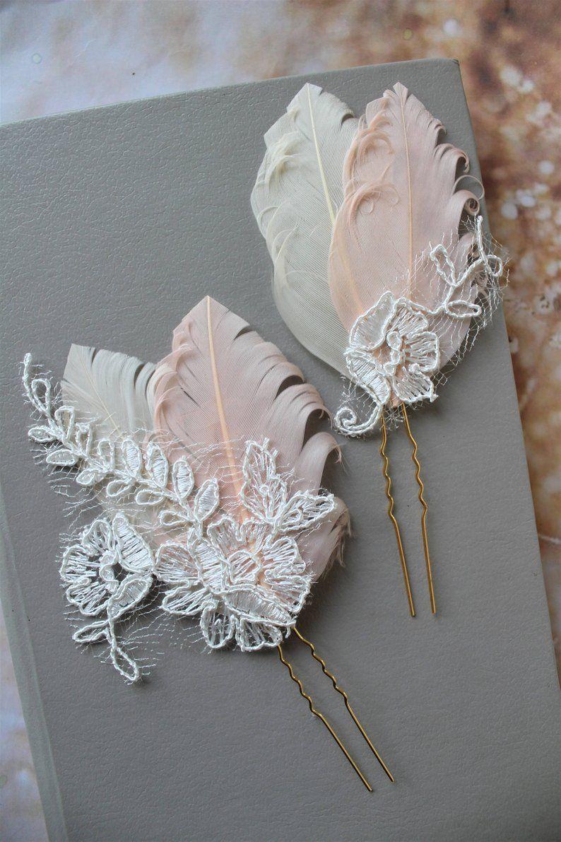 Blush champagne peacock hair pins wedding hair pin bridal