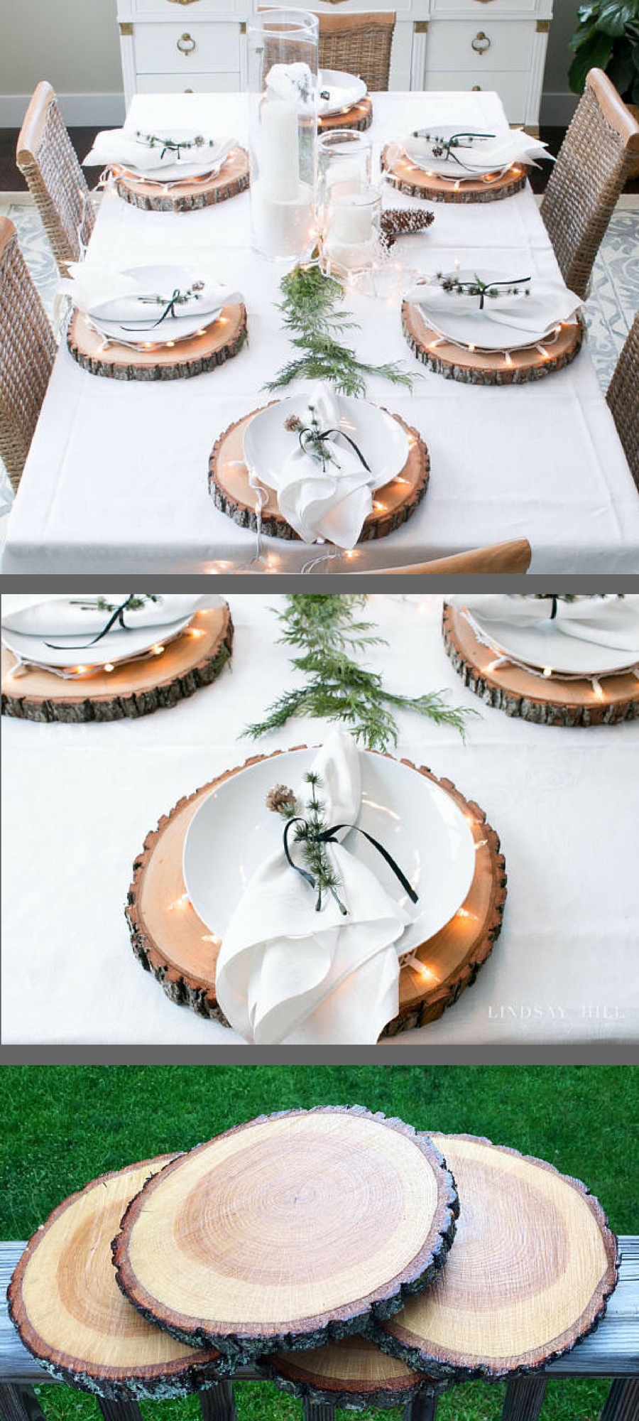 Rustic Wood Slice Plate Chargers Great Idea Tabledecor Thanksgiving Rustic Woodland H Table Decorations Rustic Cabin Decor Thanksgiving Table Settings