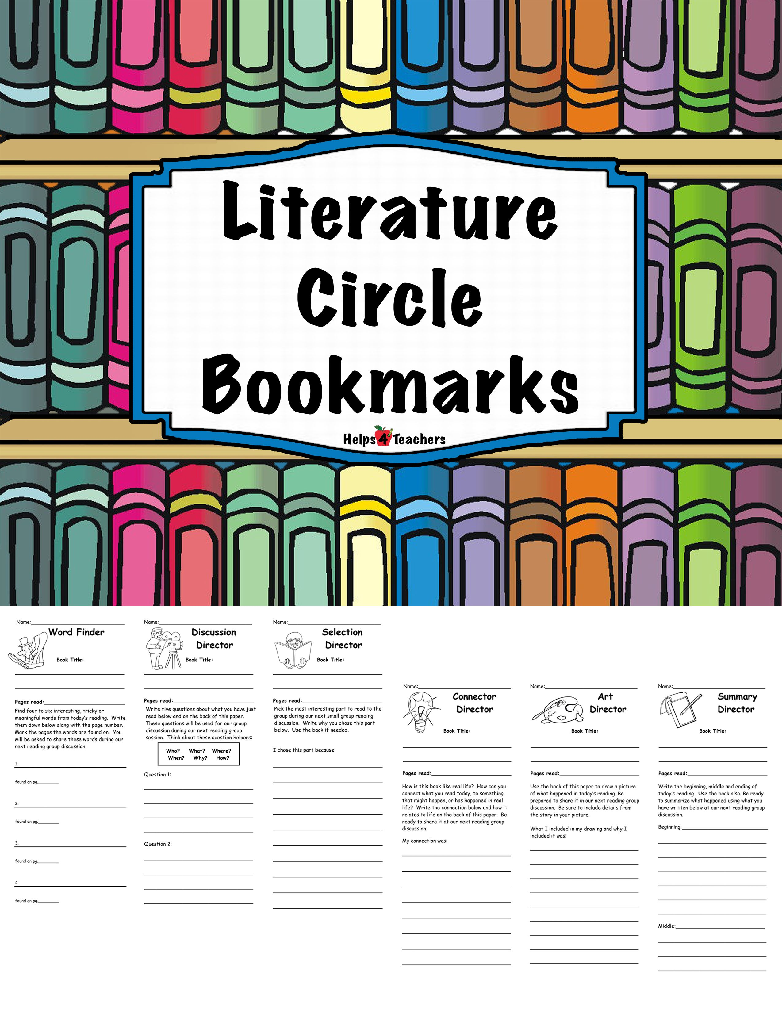Six Interactive Literature Circle Bookmarks They