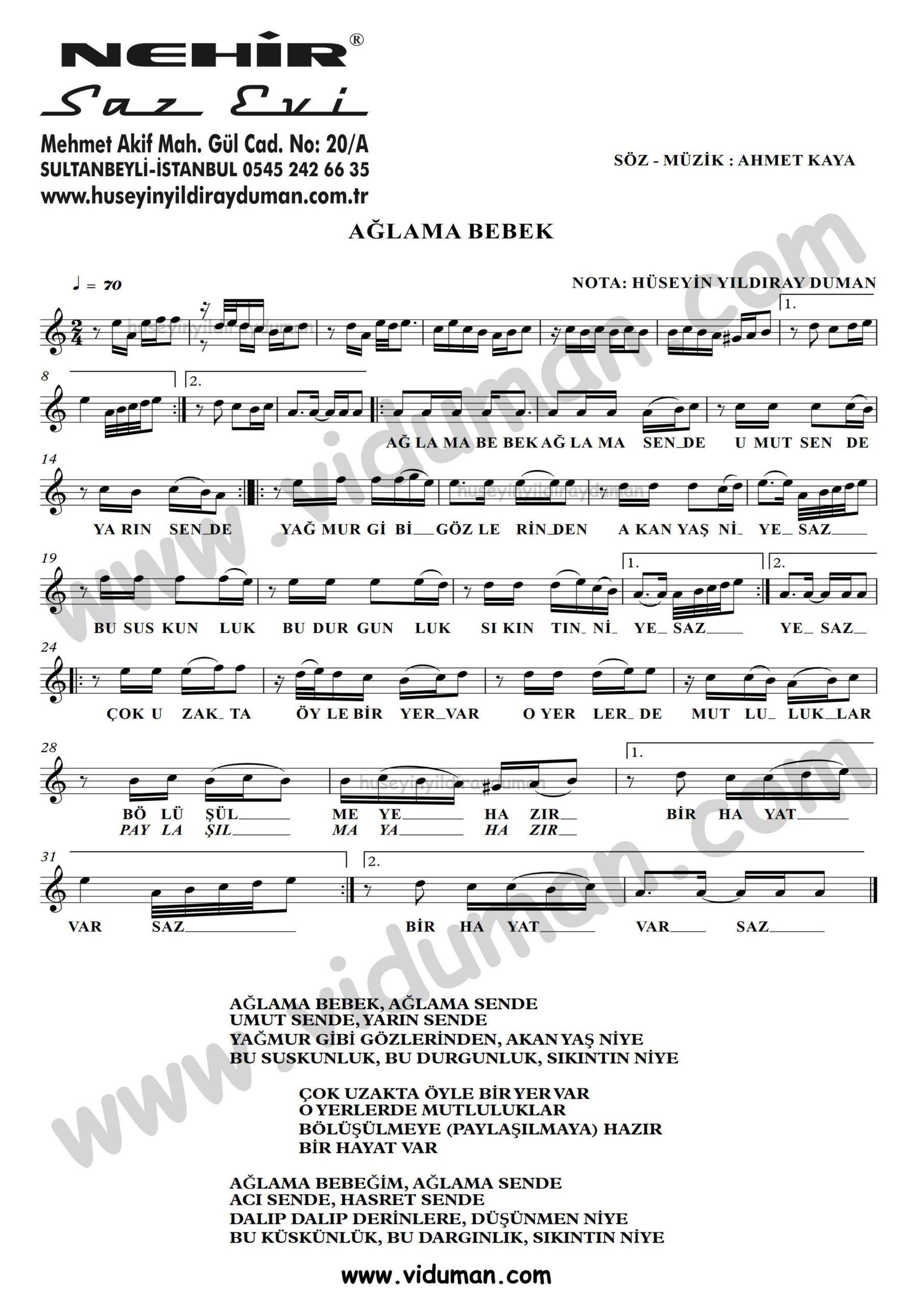 Aglama Bebek Ahmet Kaya Nota Baglama Saz Turku Notalari Muzik Notalari Muzik Bebek