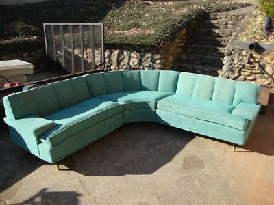 Details About Vintage Mid Century Modern Long Gold Sofa