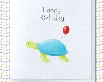 Tarjeta de cumpleaños Linda tortuga
