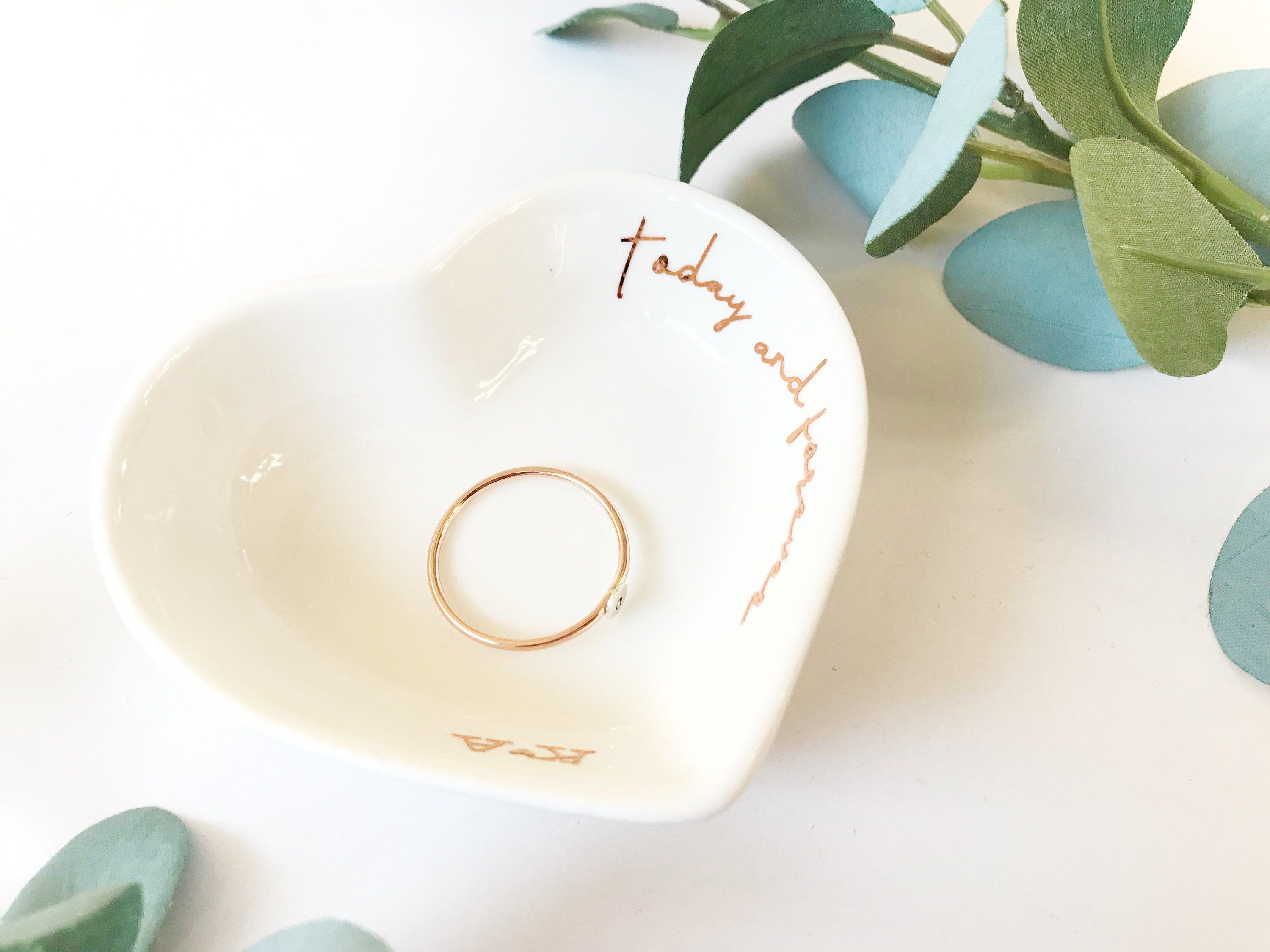 gift for her trinket dish bridal shower gift ring dish birthday gift Personalized ring bowl