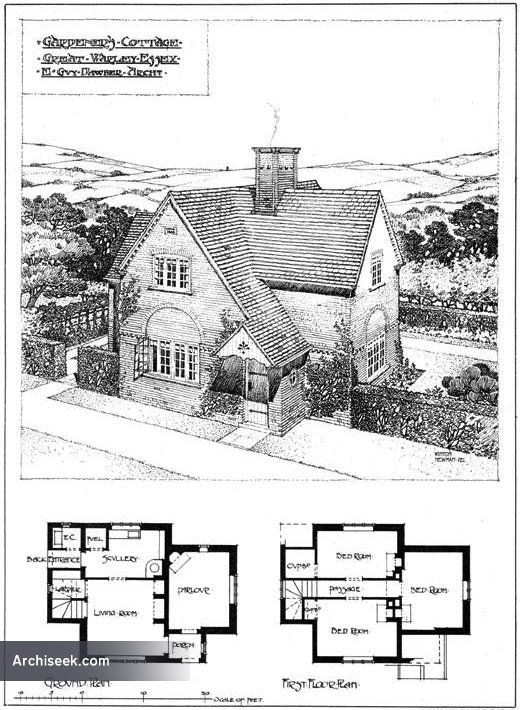 1904 Gardeners Cottage Great Warley Essex Architect E Guy Dawber Cottage Floor Plans Vintage House Plans Cottage Plan