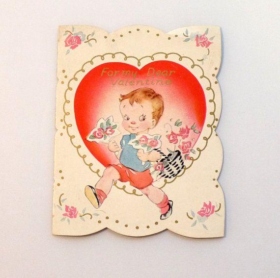 Vintage Valentine Original  Card Flat Half by TheGigglingGoblin, $2.50