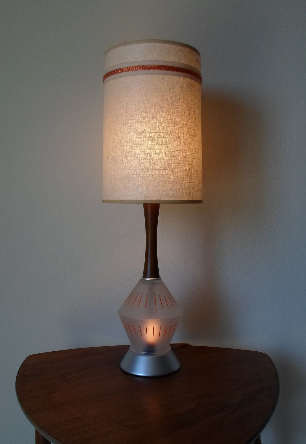 Vintage Mid Century Modern Table Lamp With Lamp Shade Frosted Glass Base Teak Or Walnut Ora Mid Century Modern Table Lamps Night Light Lamp Vintage Lighting