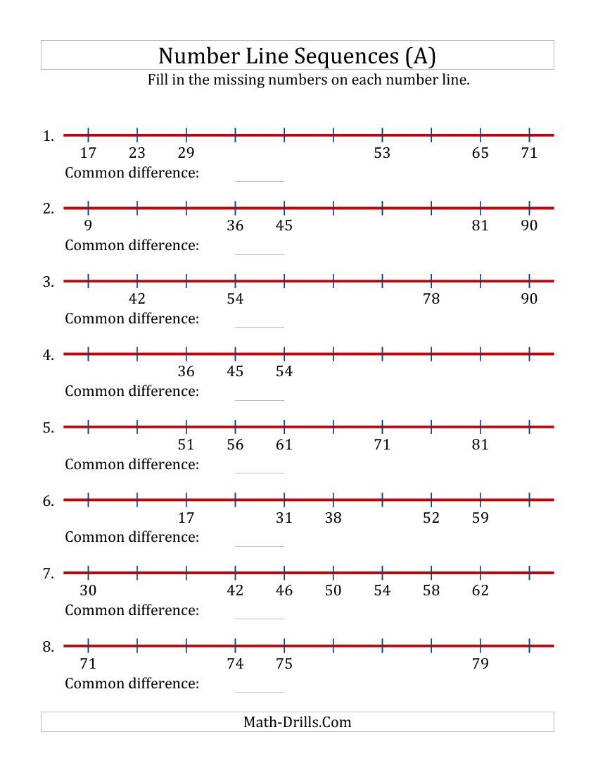 Increasing number line sequences with missing numbers max