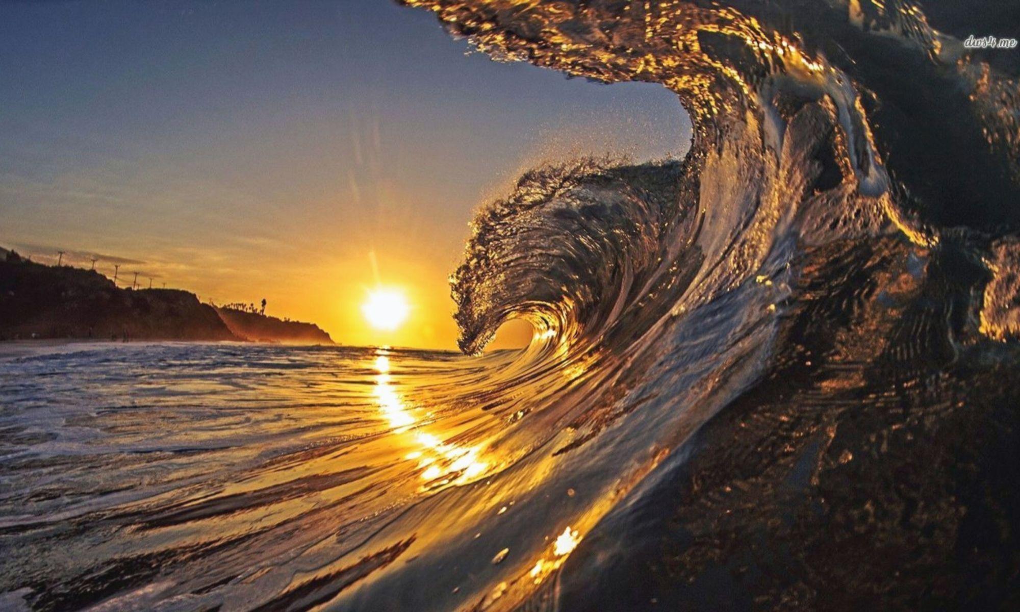 Beautiful Waves Wallpaper Hdartwallpaper Com Waves Wallpaper Sunset Wallpaper Sunset Waves