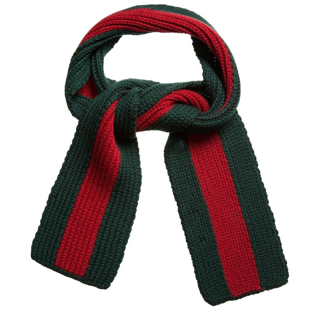 Gucci Green   Red Wool Chunky Knit Scarf (140cm)   scarves ... 2998d9e2687