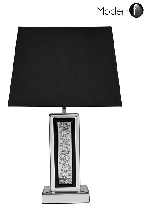 MIRRORED TABLE LAMP WITH FLOATING CRYSTALS, MIRRORED BEDSIDE LAMP BLACK  SHADE