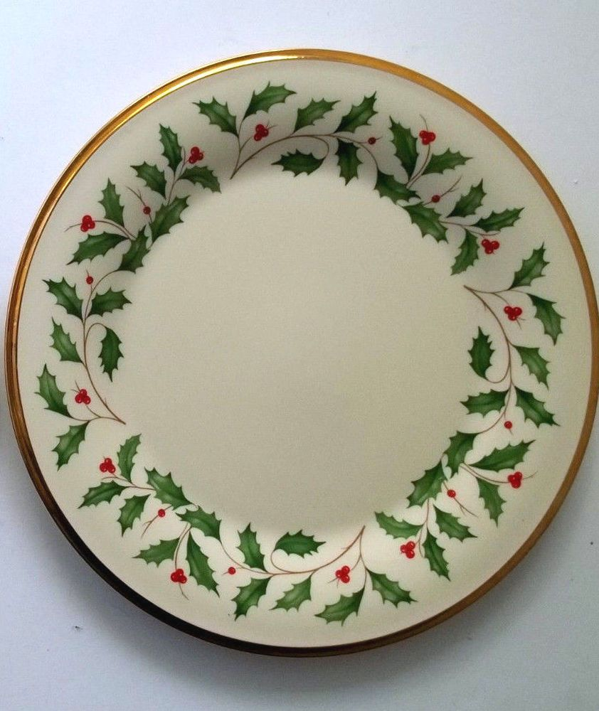 Lenox Holiday Dinner Plate Holly Berries Gold Trim Excellent Made in USA #Lenox & Lenox Holiday Dinner Plate Holly Berries Gold Trim Excellent ...