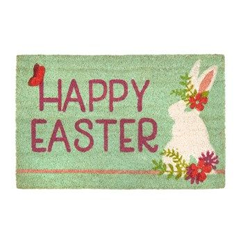 Happy Easter Flower Bunny Coir Door Mat Christmas Tree Shops And
