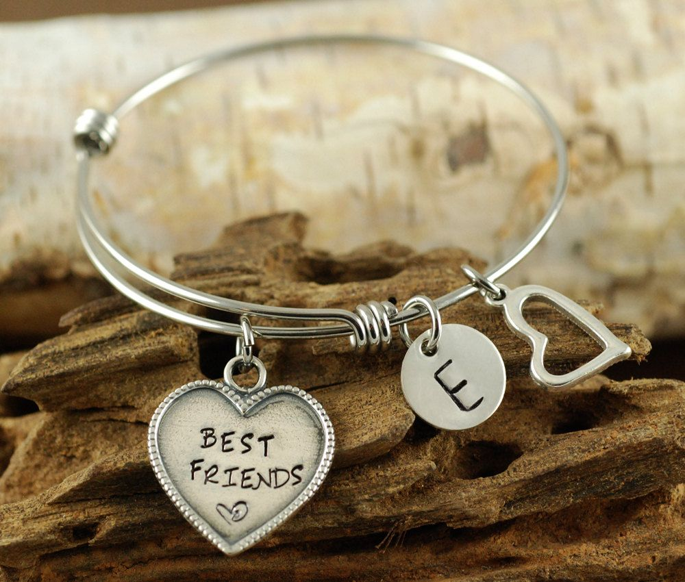 Best Friends Bangle Bracelet Personalized Silver Charm Alex And Ani Style Initial By Anniereh On Etsy