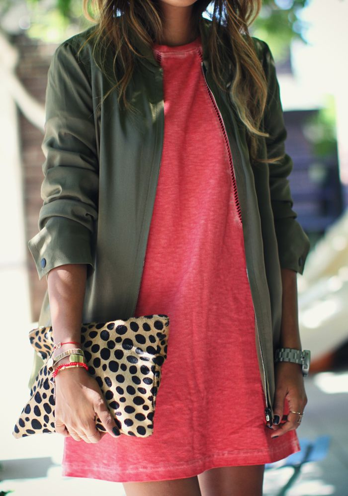 olive, coral + leopard.