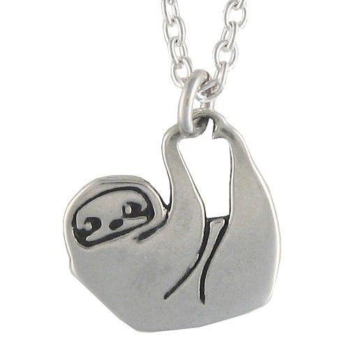 Handmade Gifts | Independent Design | Vintage Goods Silver Hanging Sloth Necklace