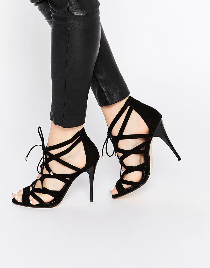 42a574536d5  73 Dune Mila Black Tie Up Heeled Sandals