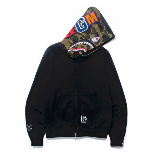 1ff8980a1f66 BAPE 10TH ANNIVERSARY HALF CAMO SHARK HOODIE SILVER ❤ liked on Polyvore  featuring jewelry