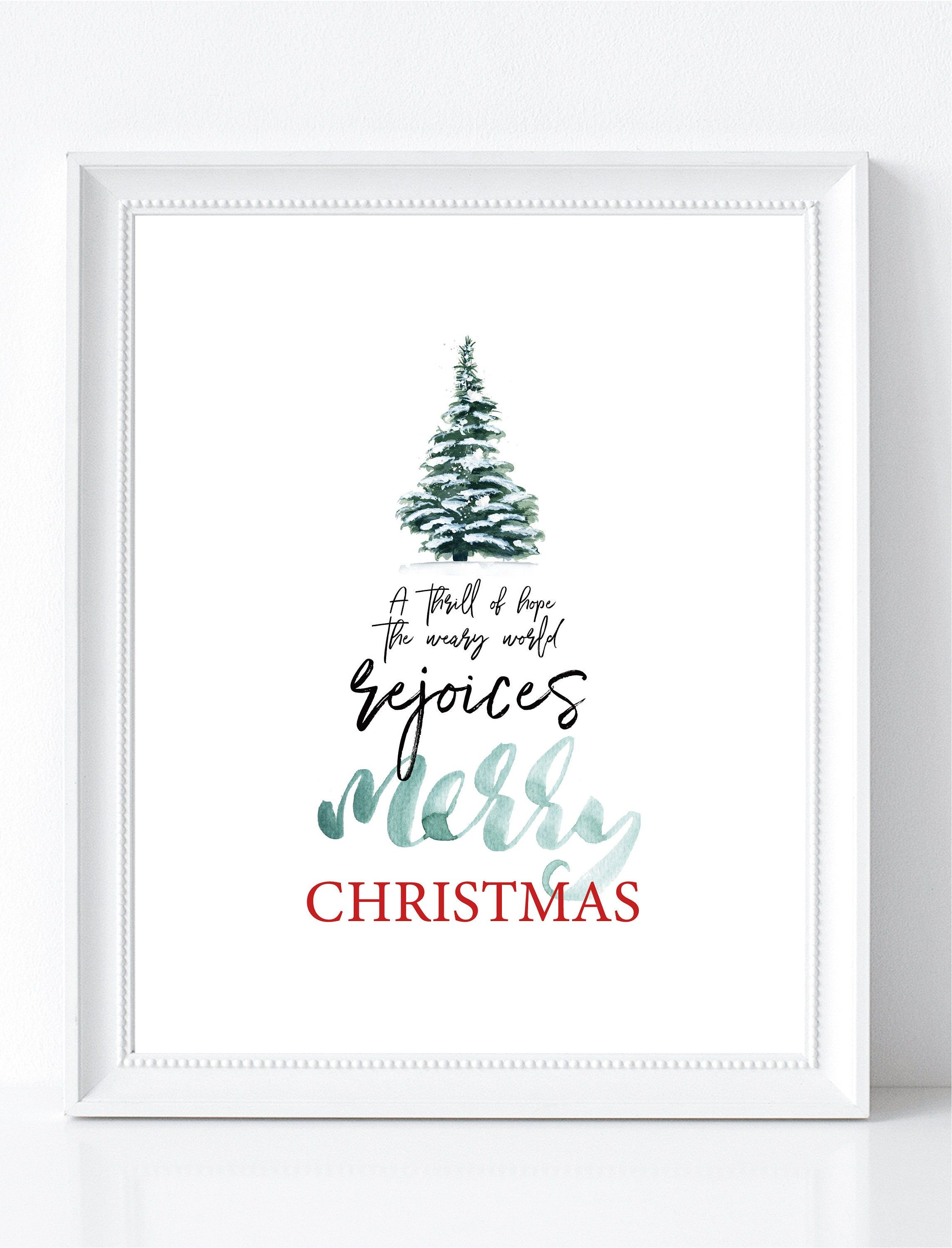 A Thrill Of Hope Printable Wall Art Christmas Printables Etsy Hope Christmas Christmas Tree Printable Christmas Wall Art