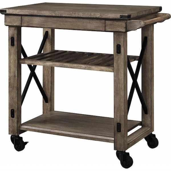 Rustic Kitchen Island Distressed Grey Reclaimed Wood Rolling Cart Storage Server