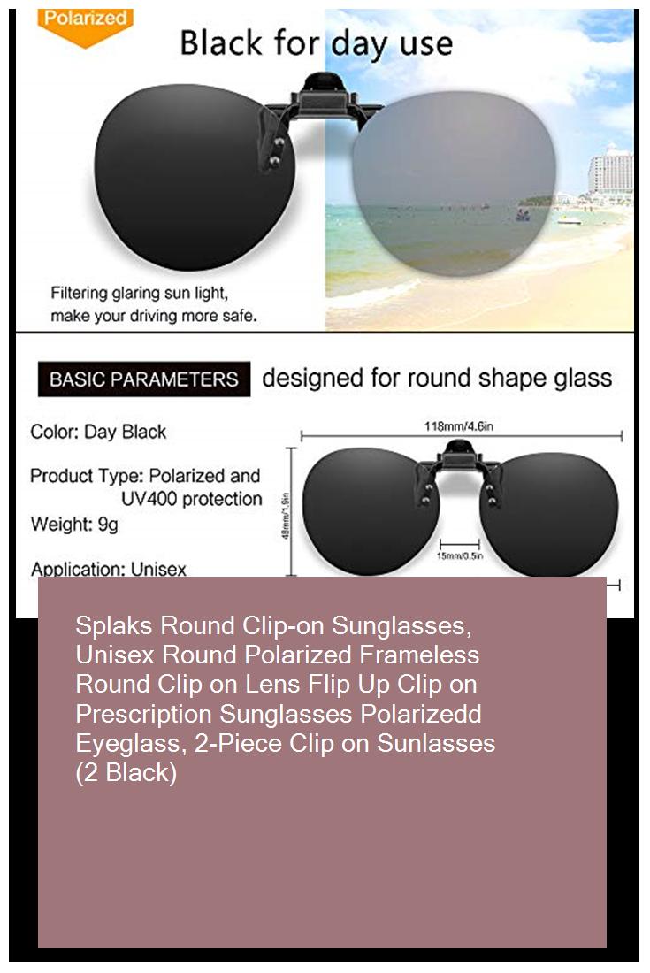 c7190a433065 Splaks Round Clip-on Sunglasses, Unisex Round Polarized Frameless Round Clip  on Lens Flip Up Clip on Prescription Sunglasses Polarizedd Eyeglass, ...