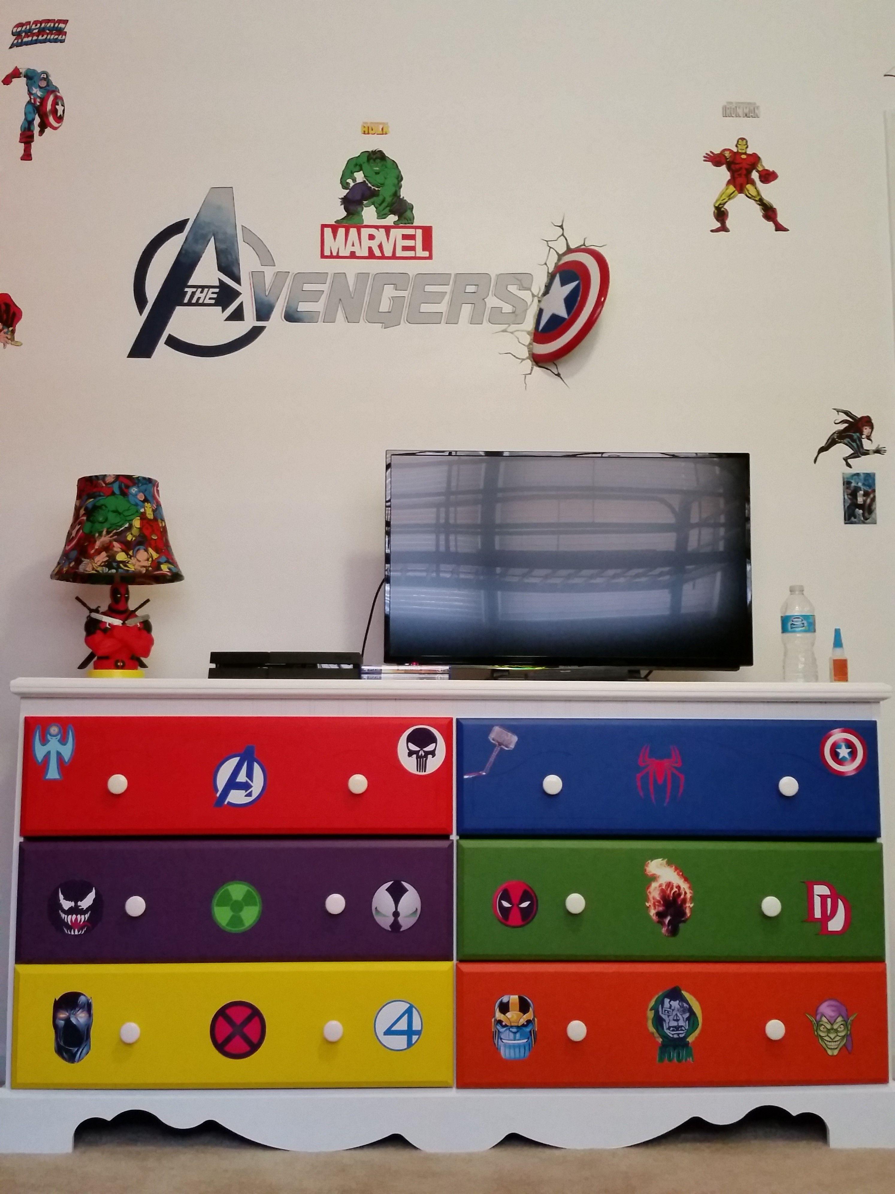 Marvel dresser on Avengers wall. | Micah\'s Superhero Room ...