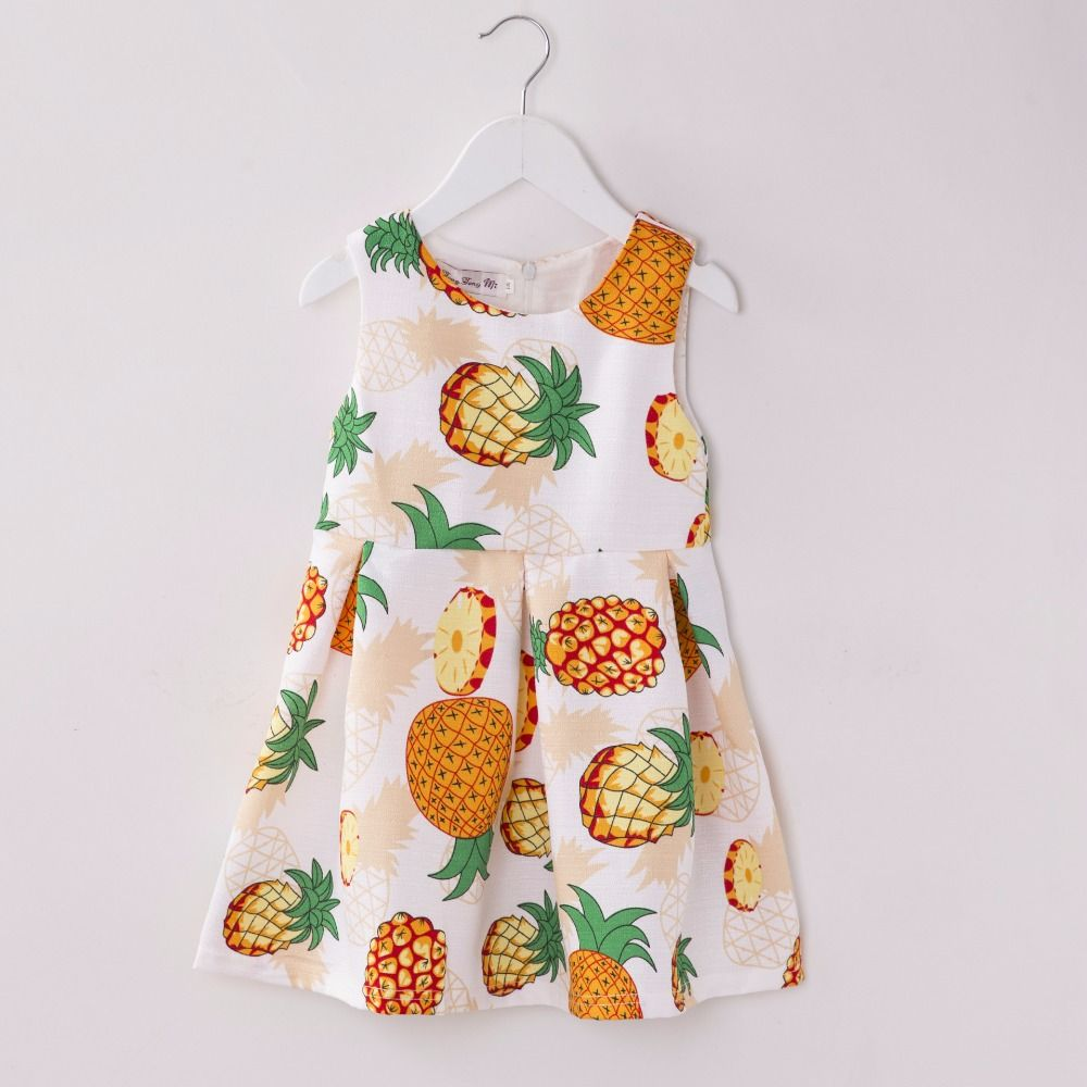 >> Click to Buy << 2016 Summer Girl Fruit Print Party Dress Children Cute Sleeveless Cotton Dress Baby Pineapple Printing Dress #Affiliate