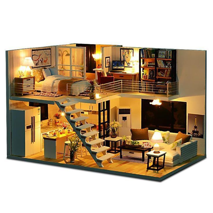 New Doll House Toy Miniature Wooden Doll House Loft With: DIY Loft Apartments Puppenhaus Holzmöbel LED Kit