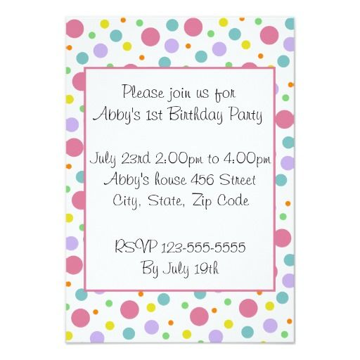 Bright Polka Dot Invitation 23rd Birthday Party Invitations