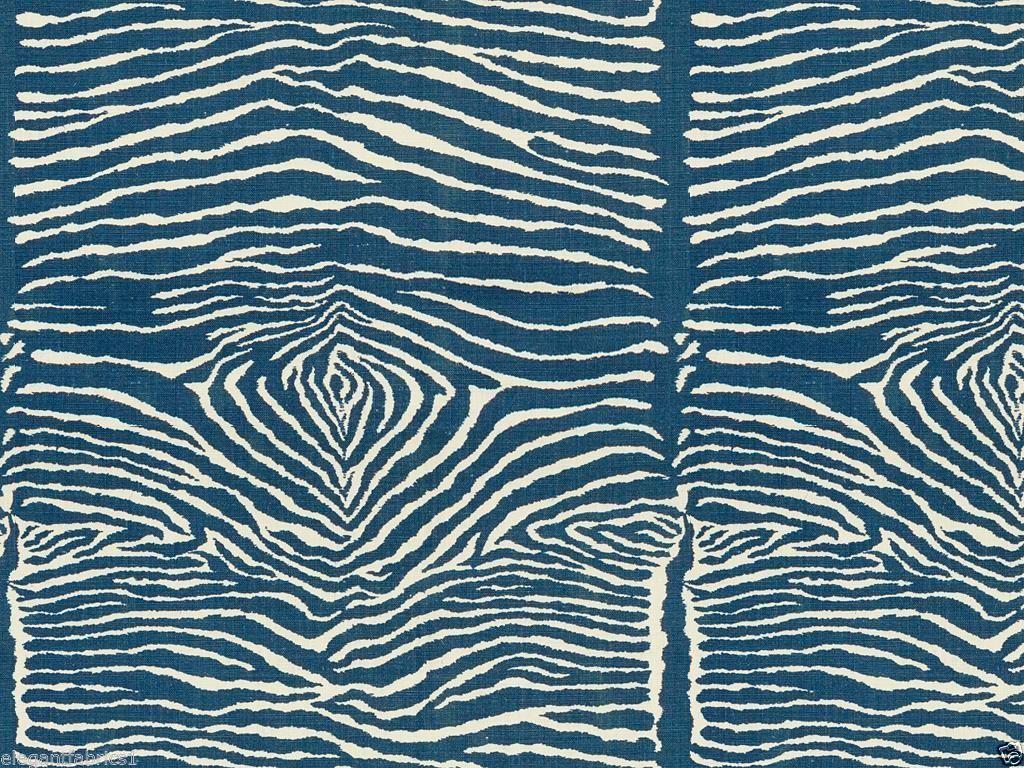 Brunschwig Fils Le Zebre Zebra Linen Print Fabric 10 Yards Indigo Blue