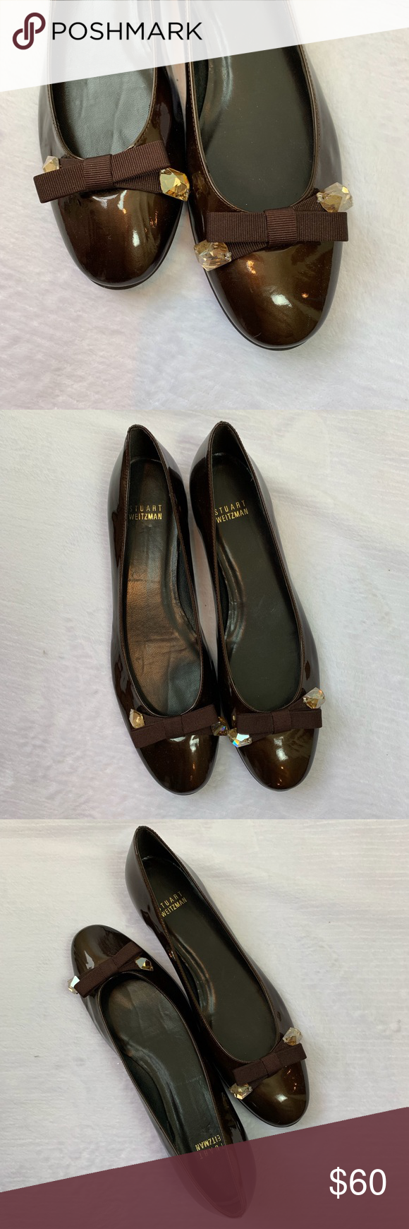 NEW STUWART WEITZMEN BALLET FLATS Never worn brown patent leather made in Spain …