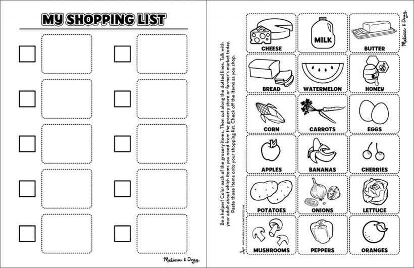 Healthy Eating Shopping List For Kids Melissa Doug Blog Shopping List Printable Shopping List Worksheets For Kids Grocery store worksheets