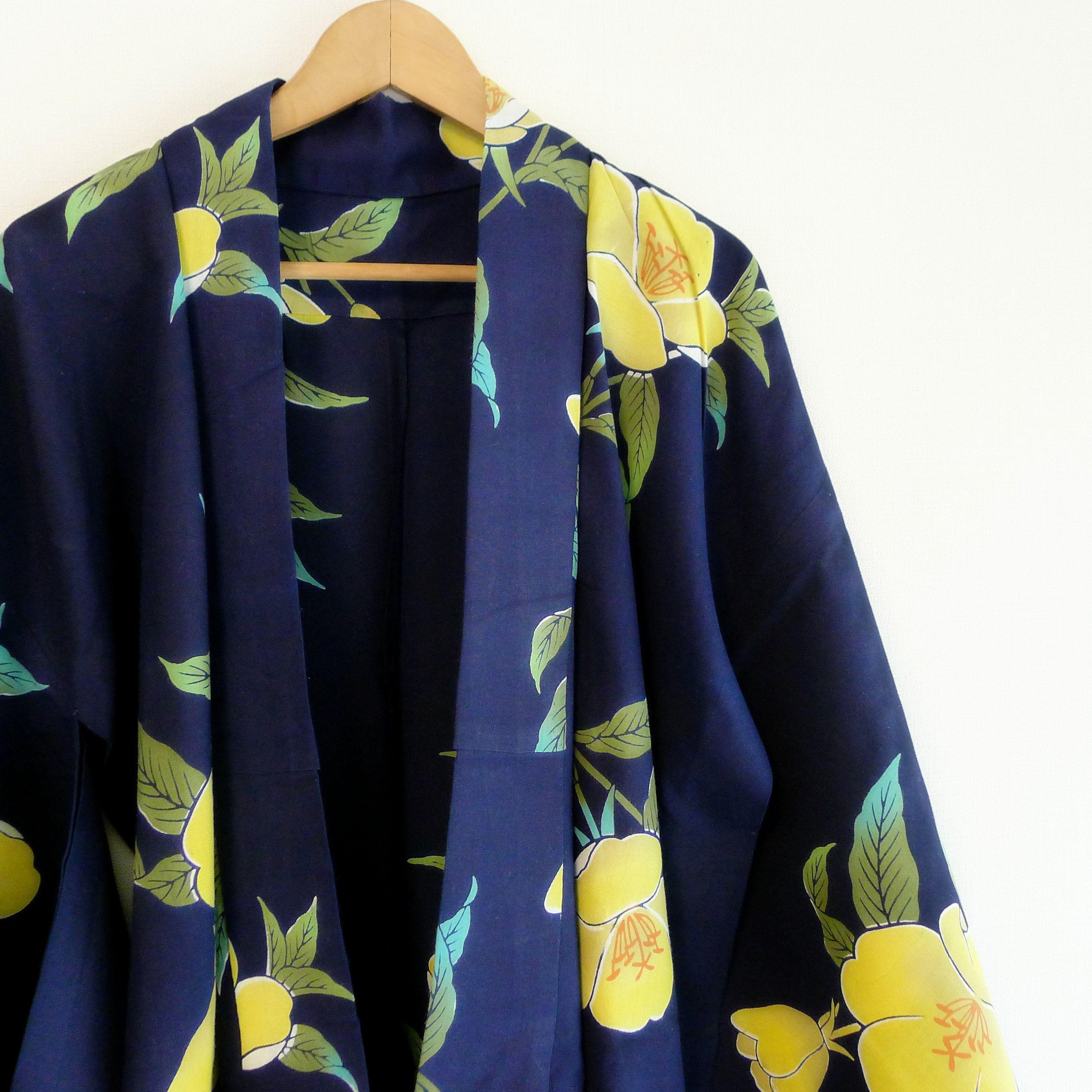 Large Yukata for women Japanese kimono robe, cotton robe