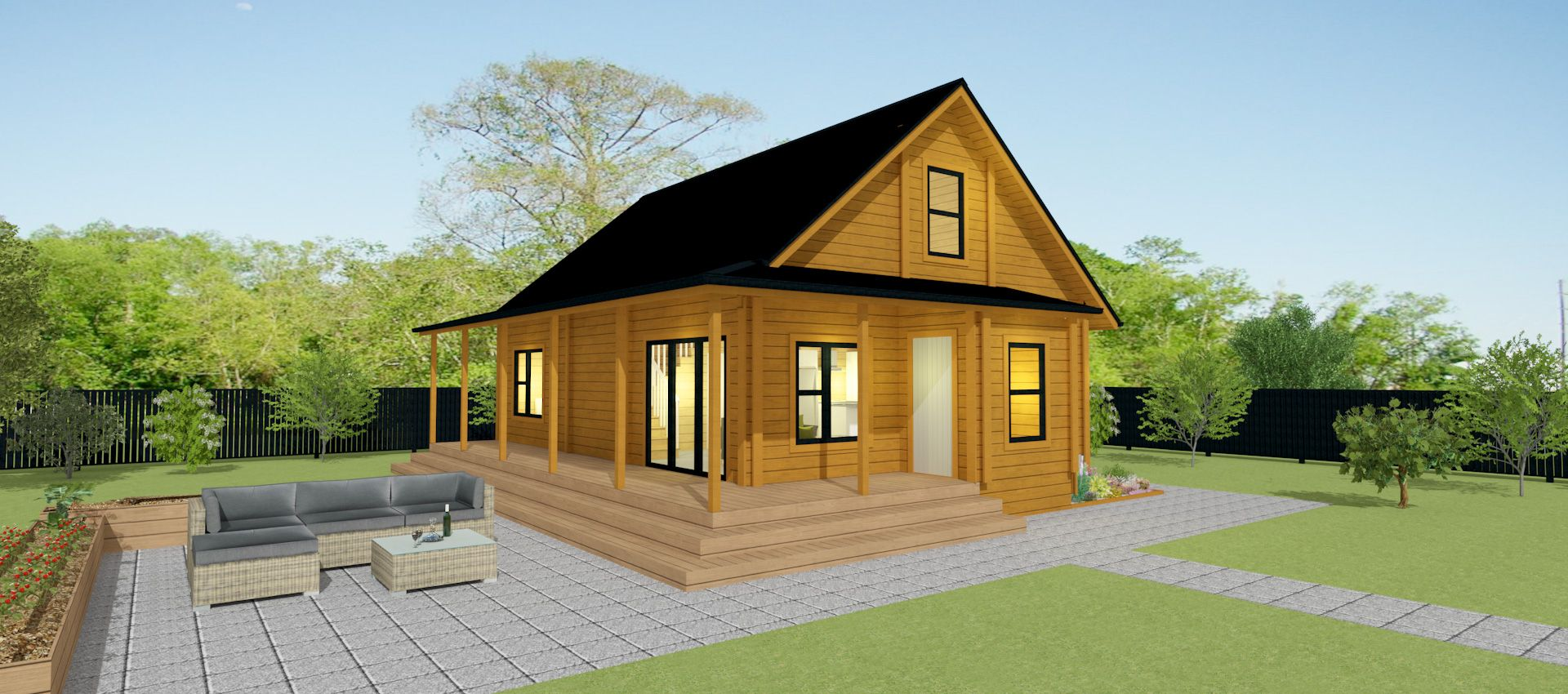 This 2 Story 3 Bedroom Alpine Chalet With High Pitched Roof Offers A Lovely Wrap Around Covered Veranda For Sheltered House Plans House Plans 3 Bedroom House