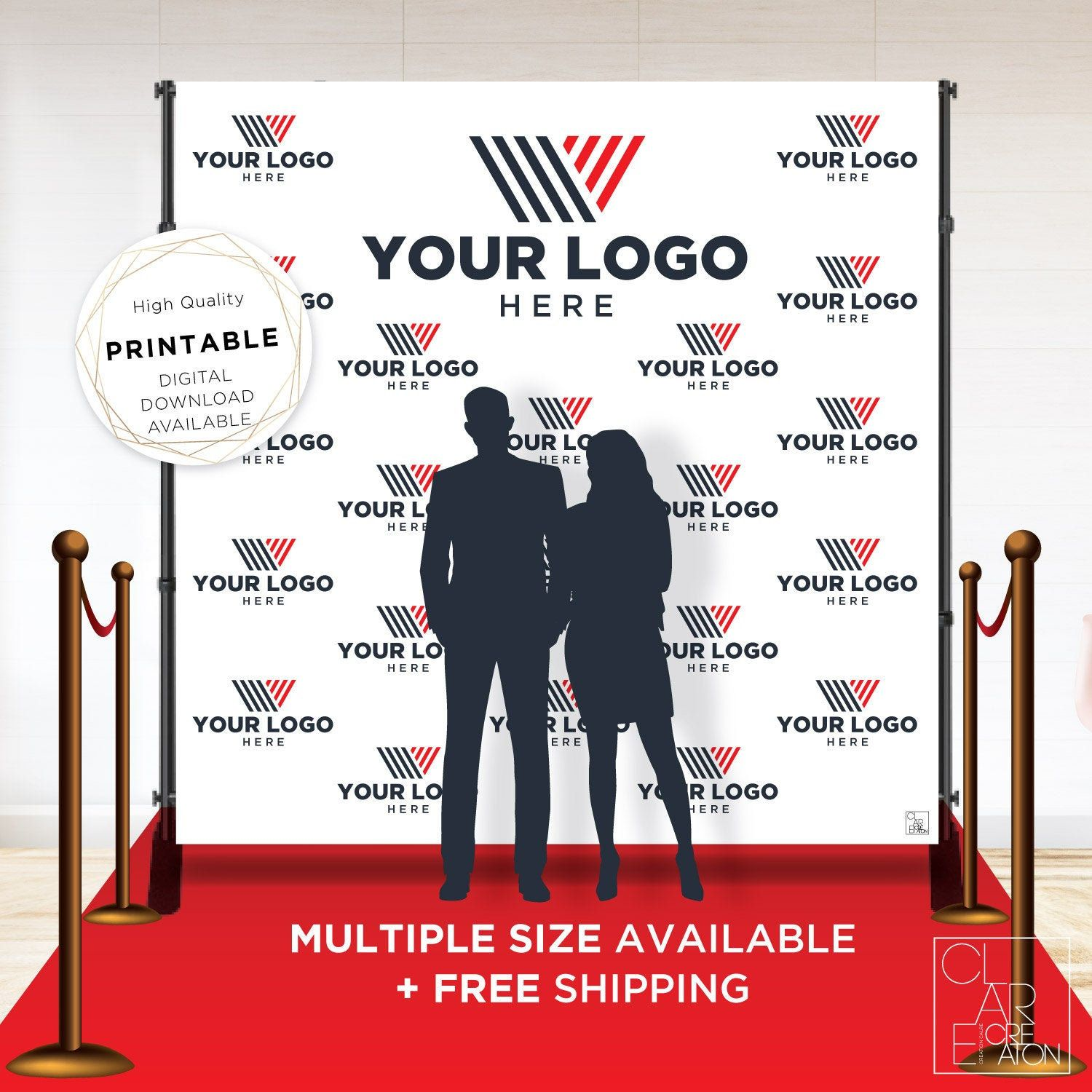 Company Custom Logo Backdrop Banner Step And Repeat Business Etsy In 2020 Custom Logos Event Backdrop Vinyl Banners