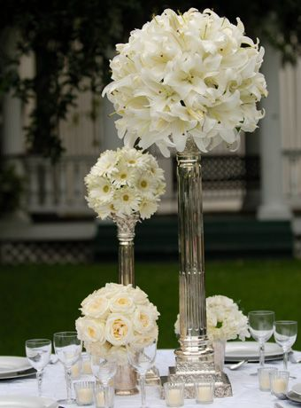 Bling Wedding White Lily Centerpieces