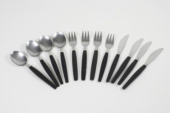 12 Pc Modernist Flatware Black Handled 1960s Vintage Danish Modern Cutlery Stainless Steel 4 Sets Scan Vintage Danish Modern Black Handle Scandinavian Flatware