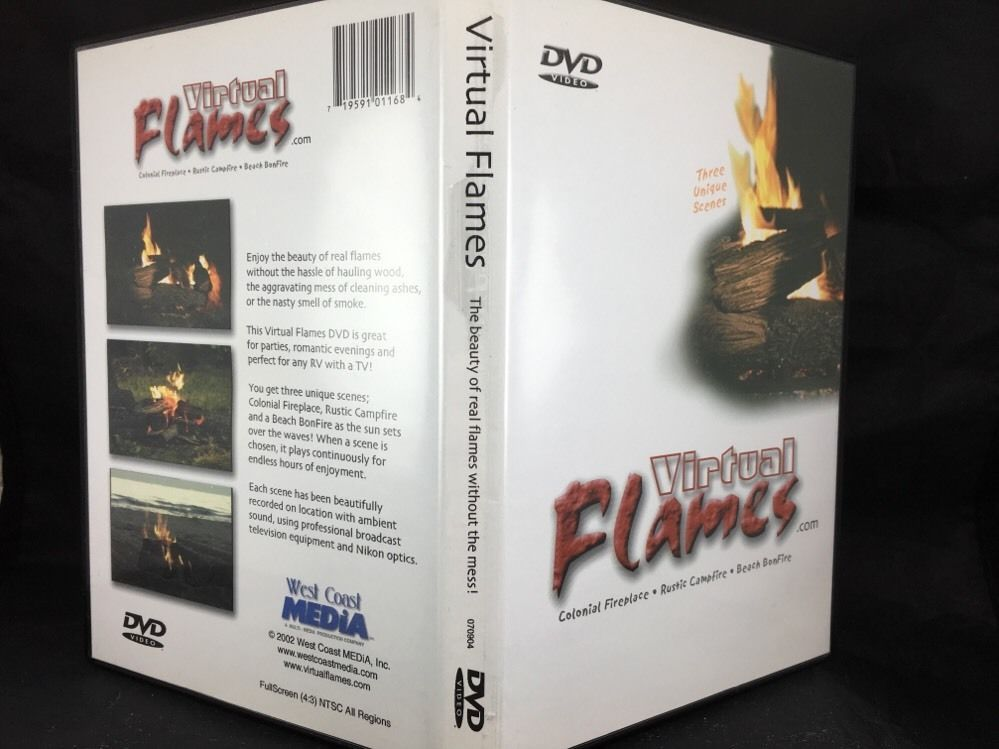 Details about Fireplace DVD Video Virtual Flames Colonial ...