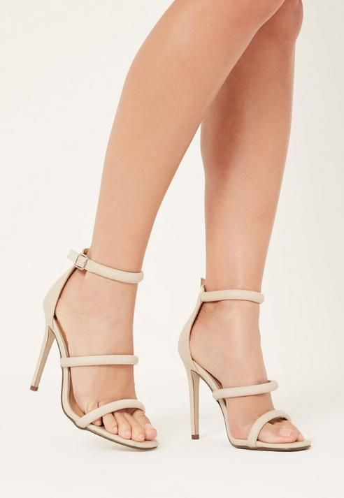 cb30b44ed174 Missguided Nude Rounded Three Strap Barely There Heels