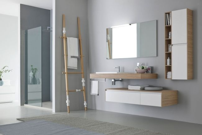 Waschtisch asiatischer Stil-Wohnideen Bad-Handtuchhalter Leiter ...