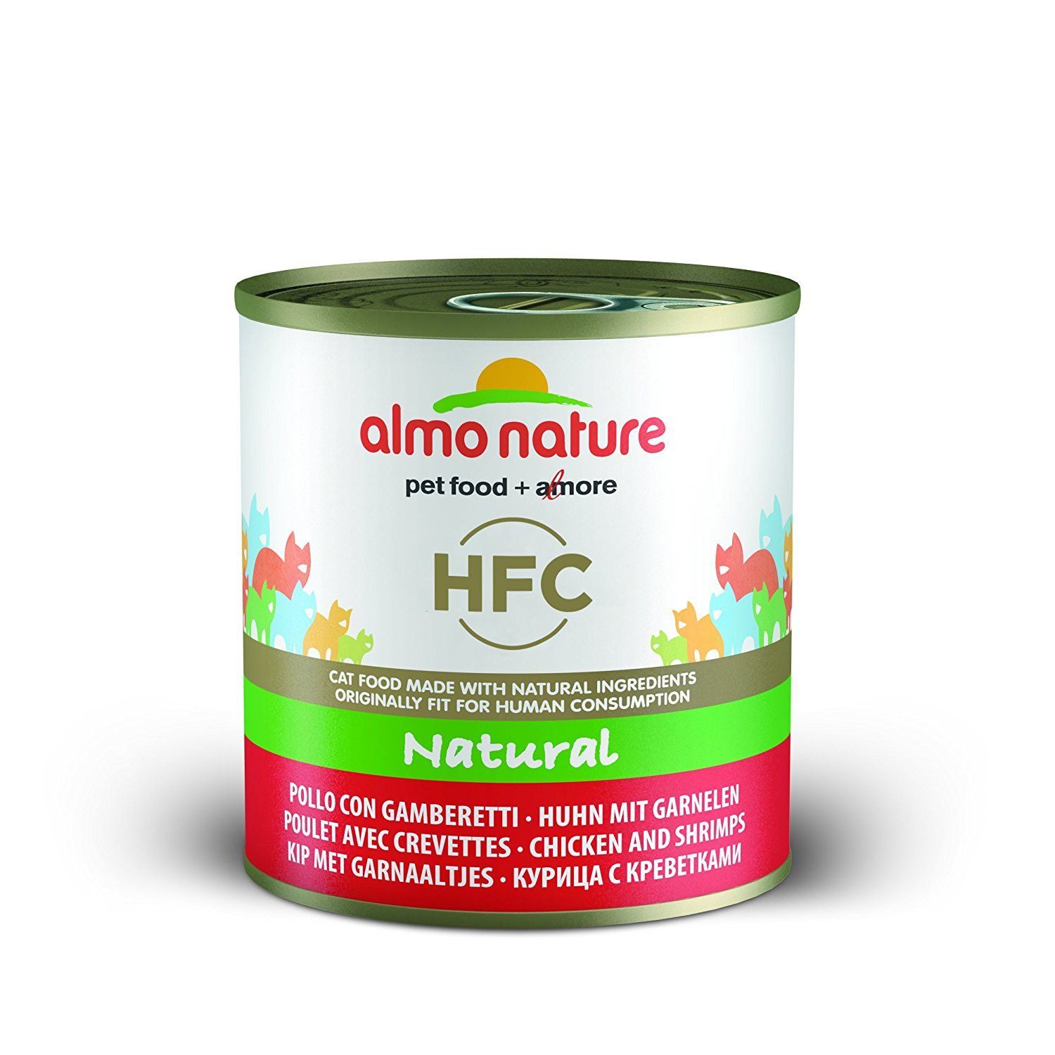 Almo Nature Hfc Natural Chicken And Shrimps Pack Of 12 X 280g Tin Natural Chicken Chicken And Shrimp Food Animals