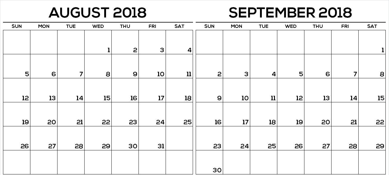 September 2018 Calendar Printable Template With Images