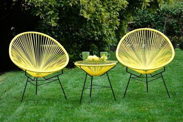 Lemon Scoop 3 Pce Setting Acapulco Chairs Glass Table Outdoor Balcony Patio NEW