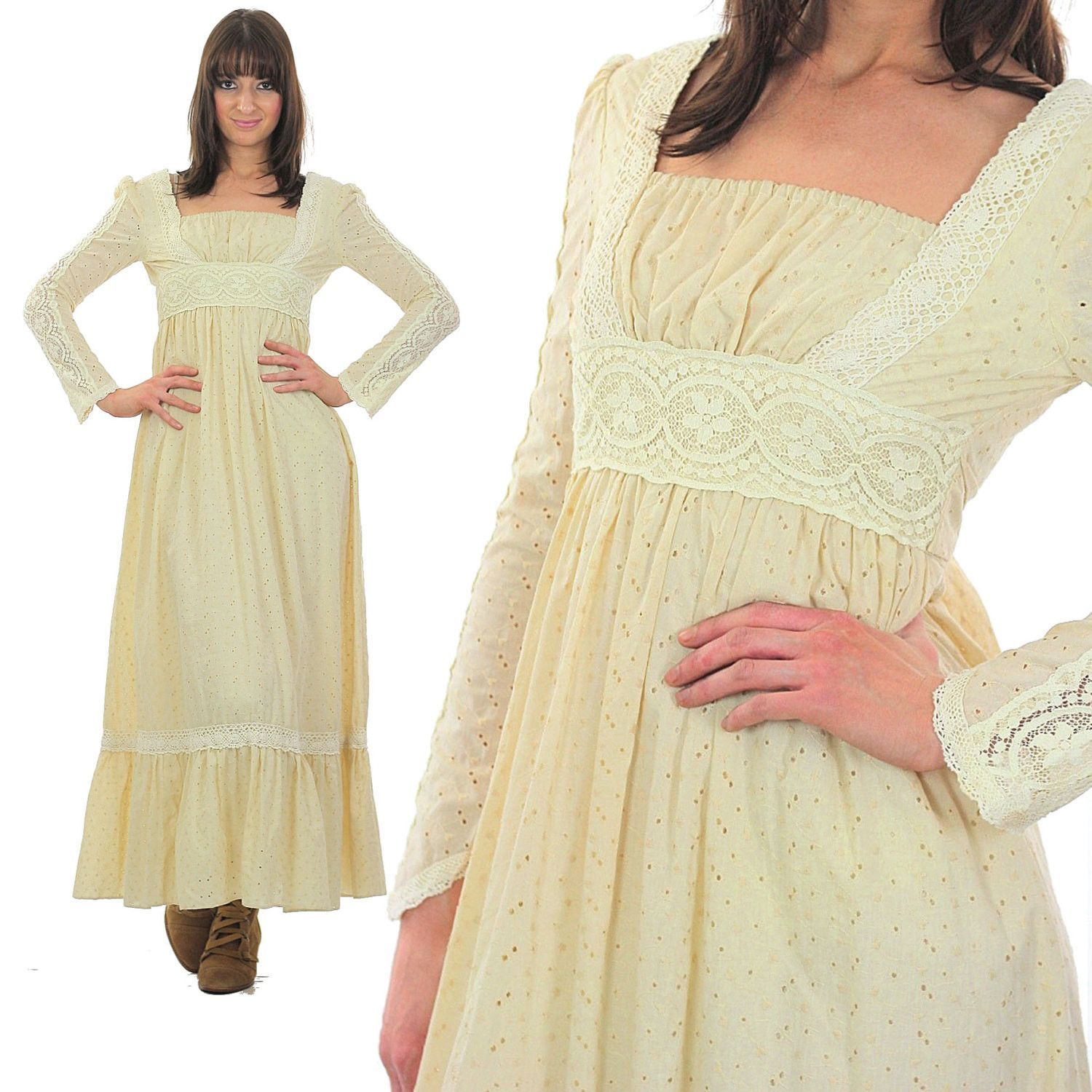 Vintage s gunne sax dress boho hippie lace party maxi dress xs