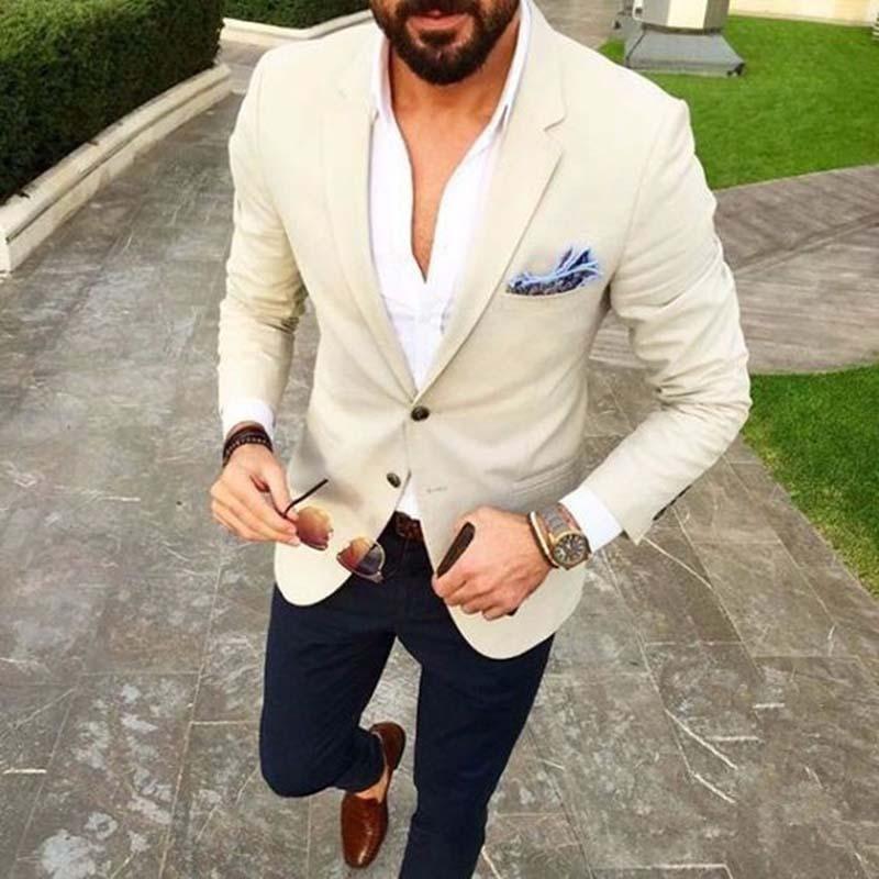 Custom Made Mens Suits Beige Blazer Navy Blue Pants #men'ssuits
