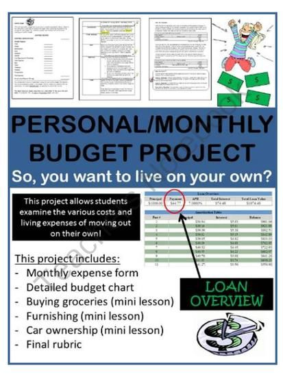 Personal Monthly Budget Project Calculate The Costs Of Living On
